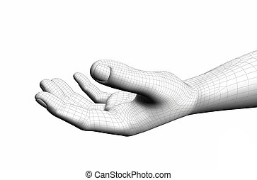 cyber open hand concepts on a white background