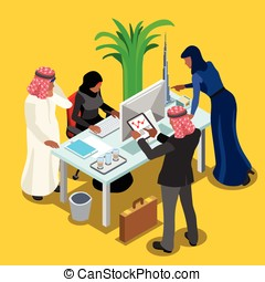 Arabic Business Isometric People - Arabic Business Meeting...