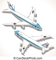 Boeing Aircraft Isometric Airplane - Boeing aircraft. Flat...