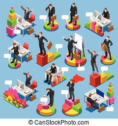 Businessman Set Isometric People