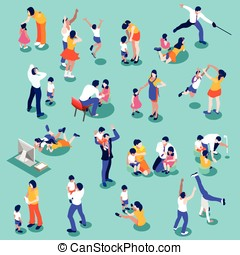 Family Time Set Isometric People - Family isometric people...