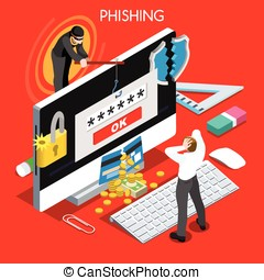 Phishing Concept Isometric People - Hacker phishing...