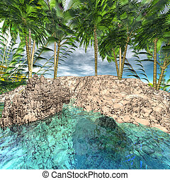oasis with palm trees 3d computer render