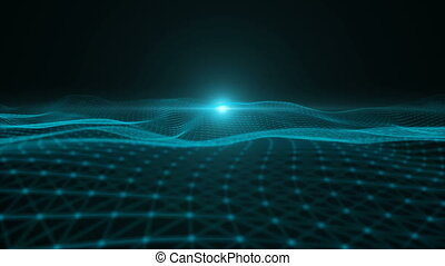 particle - Blue particle dimension space background