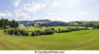 Swiss Panorama - Switzerland: Swiss panorama country church...