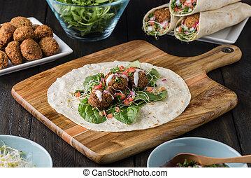 Vegan Falafel Wrap With Salsa and salad
