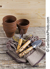 Gardening pots tools and gloves