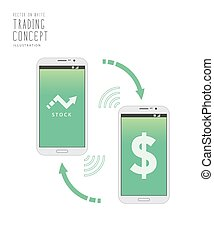 Stock trading over the Internet with a mobile phone vector.