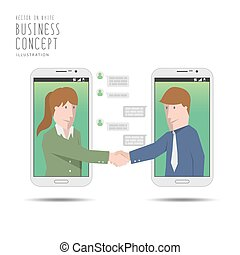 Businessman deal business with mobile phone application vector.