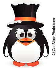 Penguin with hat and snow