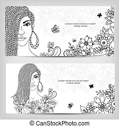 Vector illustration zentangl cards banners woman with...