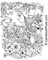 Vector illustration zentangl girl with freckles flowers apple his head. Child forest hedgehog leaf. Doodle drawing. Coloring book anti stress for adults. Black white.