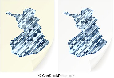 Finland scribble map on a white background