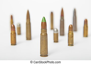 Selection of bullets isolated - A selection of bullets...
