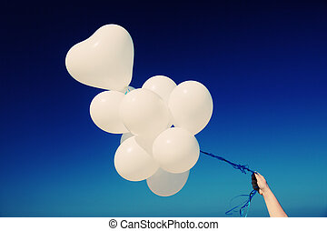 balloons on the background of blue sky