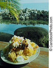 frito typical Nicaraguan food photographed Big Corn Island...