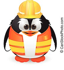 Penguin with construction outfit - penguin character using...