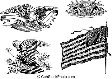 U.S. eagles and old U.S. historical flag - Set of U.S....