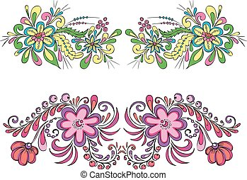 Two symmetric floral patterns