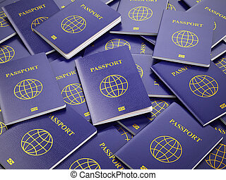Passports Travel turism or customs concept background 3d -...