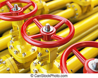 Yellow oil or gas pipe line valves 3d illustration