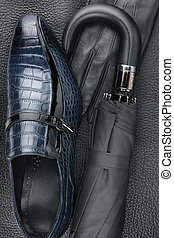Male set of fashion accessories, shoes, umbrella, gloves...