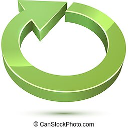 3D cycle round green arrow sign isolated on white background.