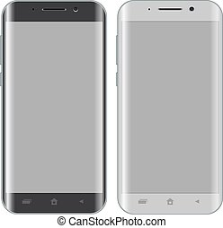 Front view of modern smartphone isolated on white background with black and white version.