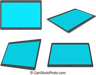 Flat design 3D tablet set isolated on white background.