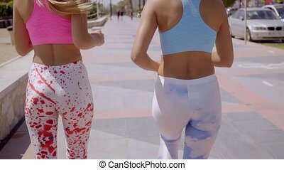 Two sexy young woman in trendy outfits walking along an...
