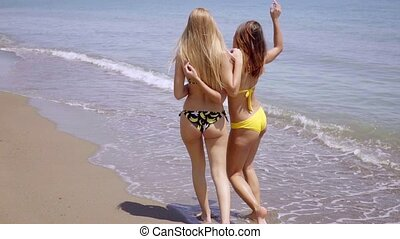 Two young women walking away along a beach - Two young women...