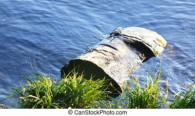 The log in the water - Near beach and grass floating log