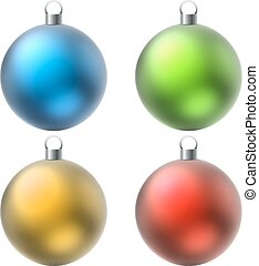Blank color Christmas balls set isolated on white background.