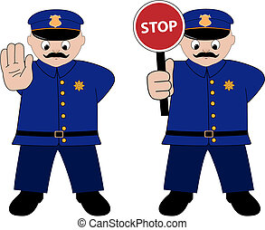 policeman - vector policeman illustration on white...