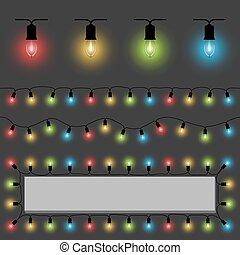 Color fairy lights vector template with examples of usage.