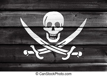Calico Jack Pirate Flag, painted on old wood plank...