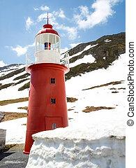 The lighthouse at Oberalp Pass - Oberalppass, Switzerland -...