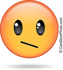 yellow round emoticon - Sad yellow round emoticon isolated...