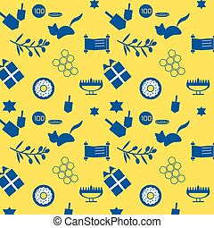 hanukpat2 - Cute and simple hanukkah pattern with yellow and...
