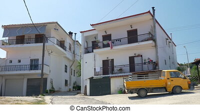View on street in Greece - View on two blocks of flats and...