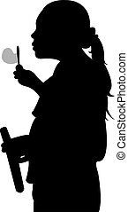 girl blowing bubbles - A Silhouette of a young girl blowing...