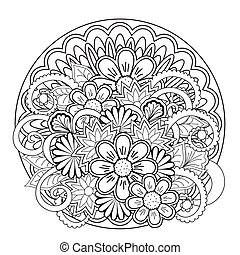 doodle tangle flower and mandalas - Monochrome mandalas and...