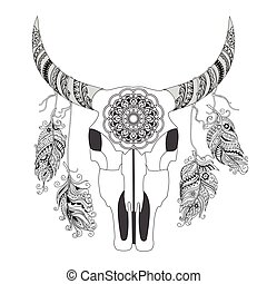 Decorated Cow Skull with mandala and feathers - Hand drawn...