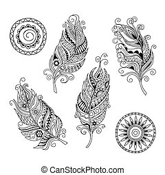 doodle feathers and mandalas - Set of hand drawn mandalas...