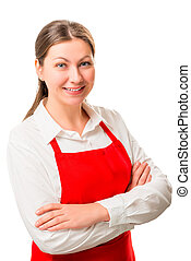 Happy housewife in apron posing on a white background