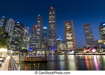 Financial District, Singapore - Evening lights at Raffles...