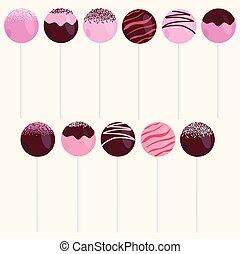 Cake Pops Vector Illustrations Set Isolated on beige...