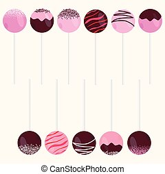 Cake Pops Vector Illustrations Set Isolated on beige...