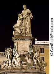Cavour statue in Turin Italy - Night view of Cavour statue...