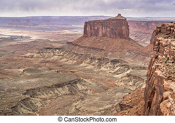 cloudy day in Canyonlands National Park with a view of Green...